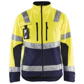 Blåkläder 4900-2517 Jack. Softshell High Vis Geel/Marineblauw