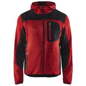 Blåkläder 4930-2117 Gebreid vest met softshell Rood/Zwart