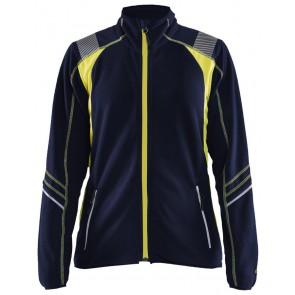 Blåkläder 4973-1010 Dames Microfleece Jack Marineblauw/Geel