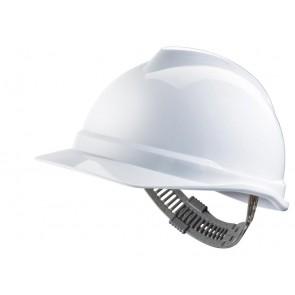 MSA V-Gard 500 ongeventileerde veiligheidshelm met Push-Key binnenwerk (GV511) wit