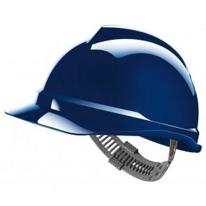 MSA V-Gard 500 ongeventileerde veiligheidshelm met Push-Key binnenwerk (GV551) blauw