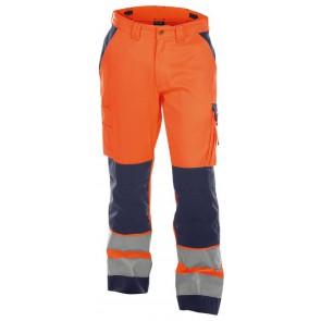 Dassy Buffalo Hoge zichtbaarheidswerkbroek met kniezakken Oranje/Marineblauw