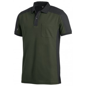 FHB Konrad Poloshirt tweekleurig Olijfgroen-Zwart