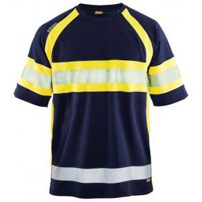 Blåkläder 3337-1051 High Vis T-shirt klasse 1 Marineblauw/Geel