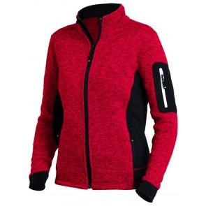 FHB Marieke Damesvest Tricotfleece Rood-Zwart